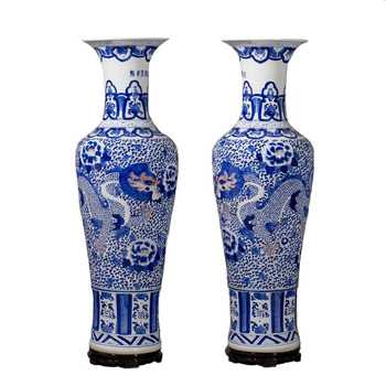 Chinese Blue And White Porcelain Large Decorative Floor Vases Buy