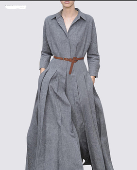 5e5960112e OEM Autumn Fashion Design Simple Elegant Box Pleat Skirt Gray Maxi Long  Dress For Women