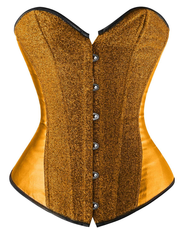 68ba118e20d Get Quotations · Luruiya Women s Glitter Burlesque Body Shaper Clubwear  Strapless Outwear Corset
