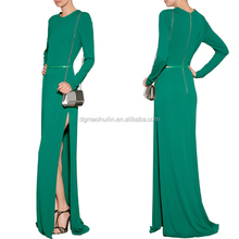 Round neck long sleeves floor length jersey gown evening dress 2014