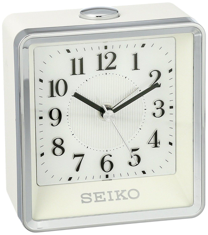 Seiko Bedside Plastic Alarm Clock Color Silver Toned Model Qhe142wlh