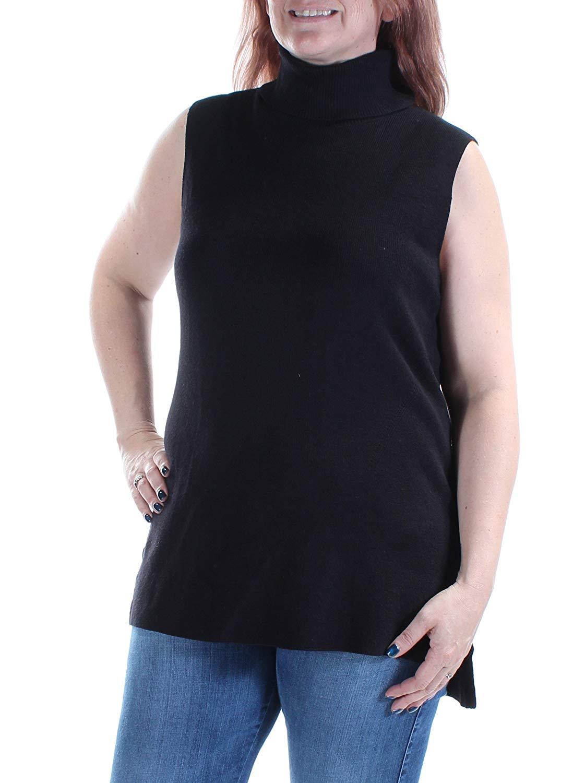 cc23a5ffc6527f Get Quotations · Alfani Womens Side Slit Sleeveless Turtleneck Sweater
