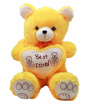 Valentine S Day Yellow Hot Teddy Bear Doll With Heart Plush Toy
