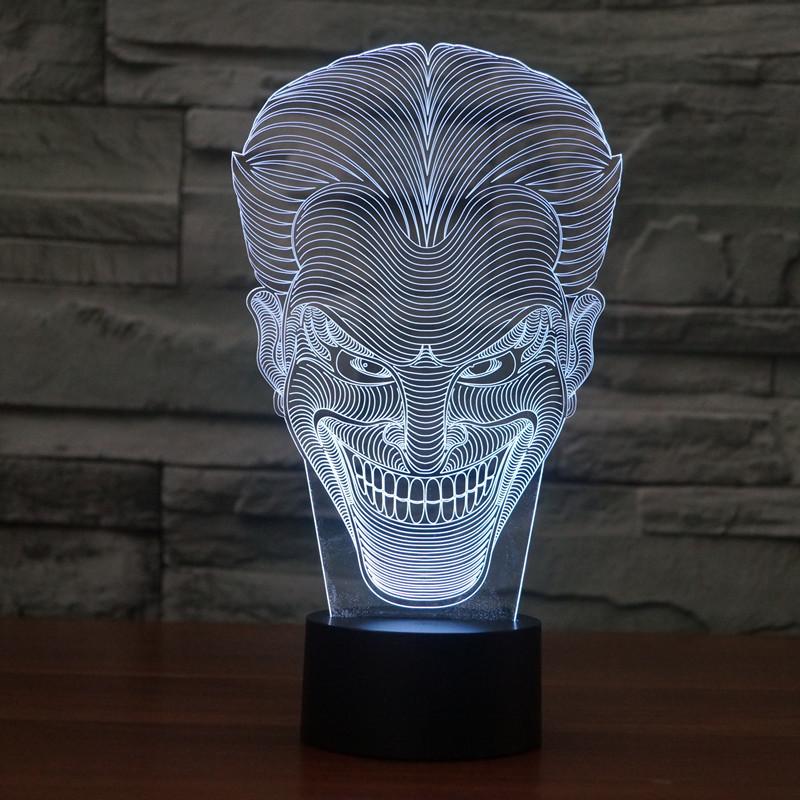 웃는 얼굴 잭 다채로운 3D LED 야간 조명 아크릴 램프 빛 ...
