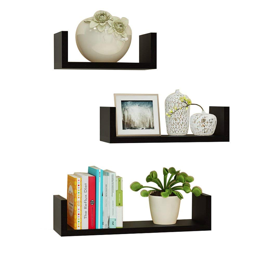 YD Shelf Solid wood Wall shelf,living room Wall-mounted shelf,multi-layer shelves/perforated wall-mounted Free-standing shelf/With three shelves/(30/40/501410cm) @ (Color : Black)