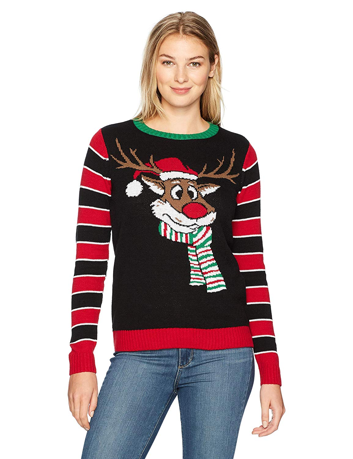 76d5c6f4990e Get Quotations · Ugly Christmas Sweater Women's Reindeer W/Back Embroidery  Detail Sweater