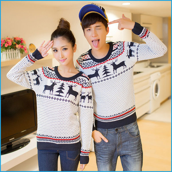 Christmas Sweaters For Couples.2019 Wholesale Fashion Winter Men And Women Long Sleeve Crewnecks Cashmere Pullovers Matching Deer Couple Christmas Sweaters From Red2015 Price