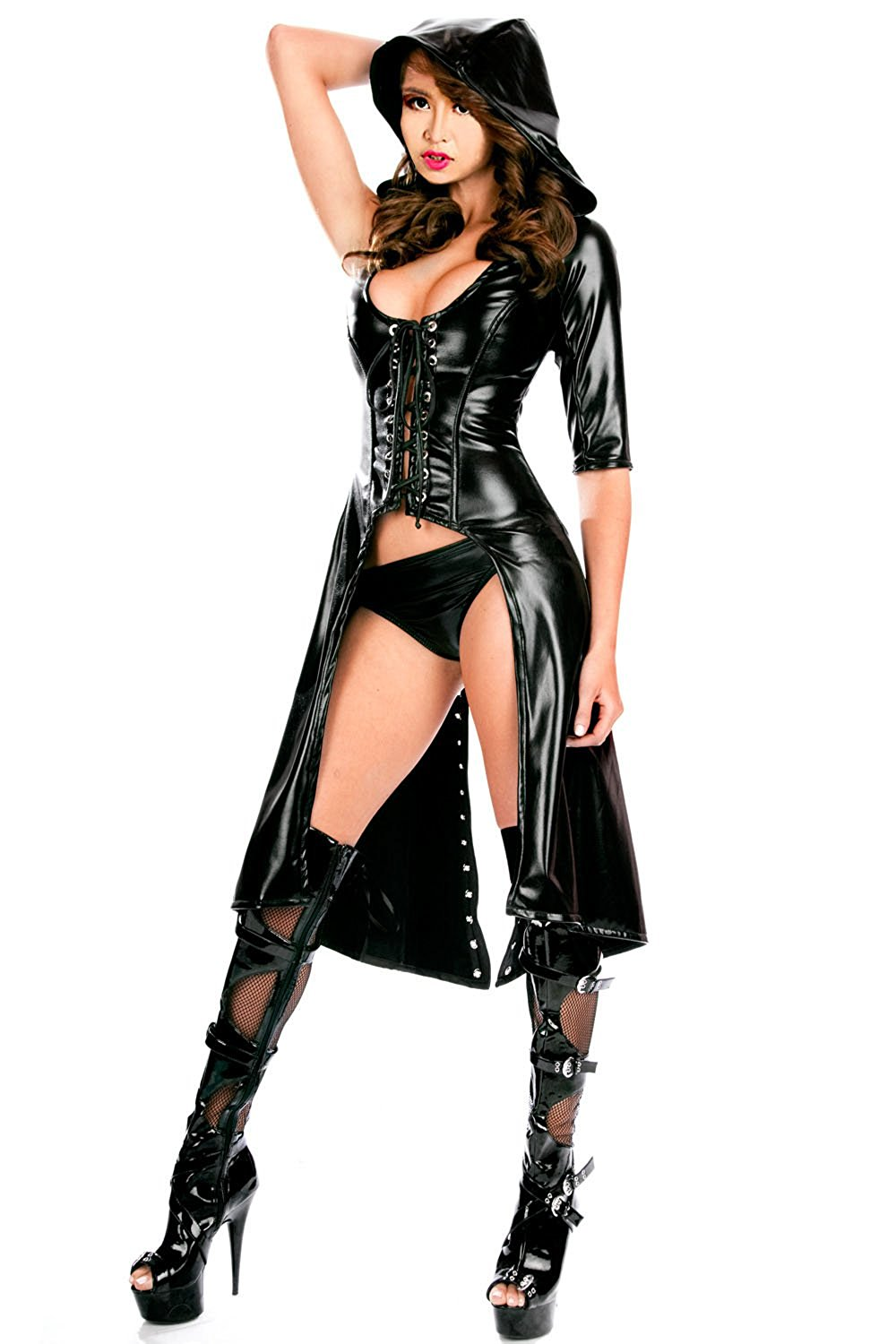 ba019ea601e Get Quotations · Crazy Women Faux Leather Corset Sexy Triangle Jumpsuit  Bustier set