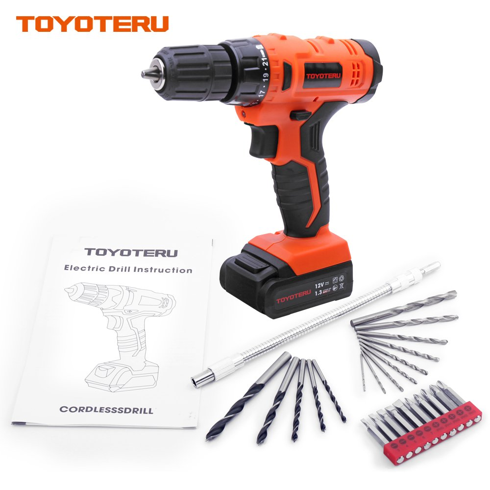 TOYOTERU 12V PRO Cordless Drill with 1300 mAh Li-ion battery, 20 Position,3/8-Inch Keyless Clutch, Variable Speed Switch, Working Light, 25 Pcs Drill/Screwdriver Bit Accessory Set