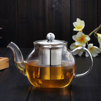 Flower tea cooking pyrex glass tea pot with infuser