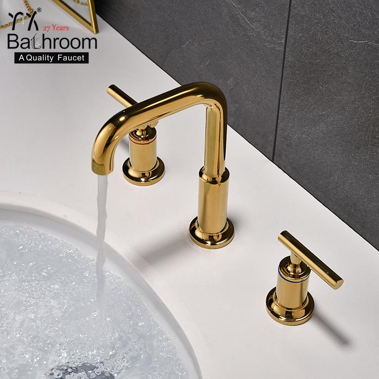 אגן אמבטיה שימוש הכפול ברז טיטניום זהב אגן מגופים סיפון רכוב ידית כפולה עם שלושה חור אגן כיור ברז