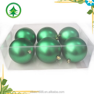 Whole sale high quality cheap green 10cm plastic ornaments big ball decoration x-mas balls decorative hanging Christmas balls