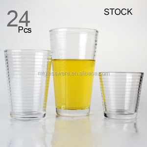 HOME USE FDA set of 24 pcs clear Glass tumbler with box packing stock,drinking set