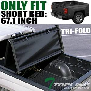 "Topline Autopart Tri Tri-Fold Fold Soft Truck Bed Topper Cap Vinyl Tonneau Cover For 04-15 Nissan Titan Crew Cab 5.5 Ft 66"" Short Bed"
