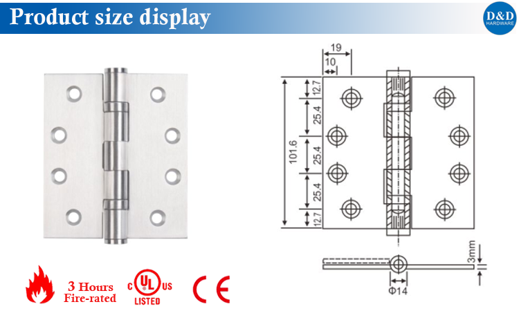 The size display of Ball Bearing Hinge-D&D Hardware