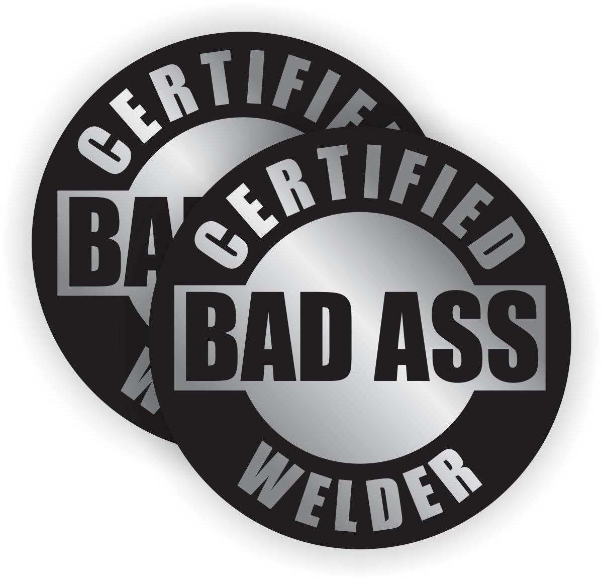 (Pair) Bad Ass Welder Hard Hat Stickers | Silver and Black Motorcycle Welding Helmet Decals | Labels Lunch Toolbox Mig Tig Metal Aluminum Stick