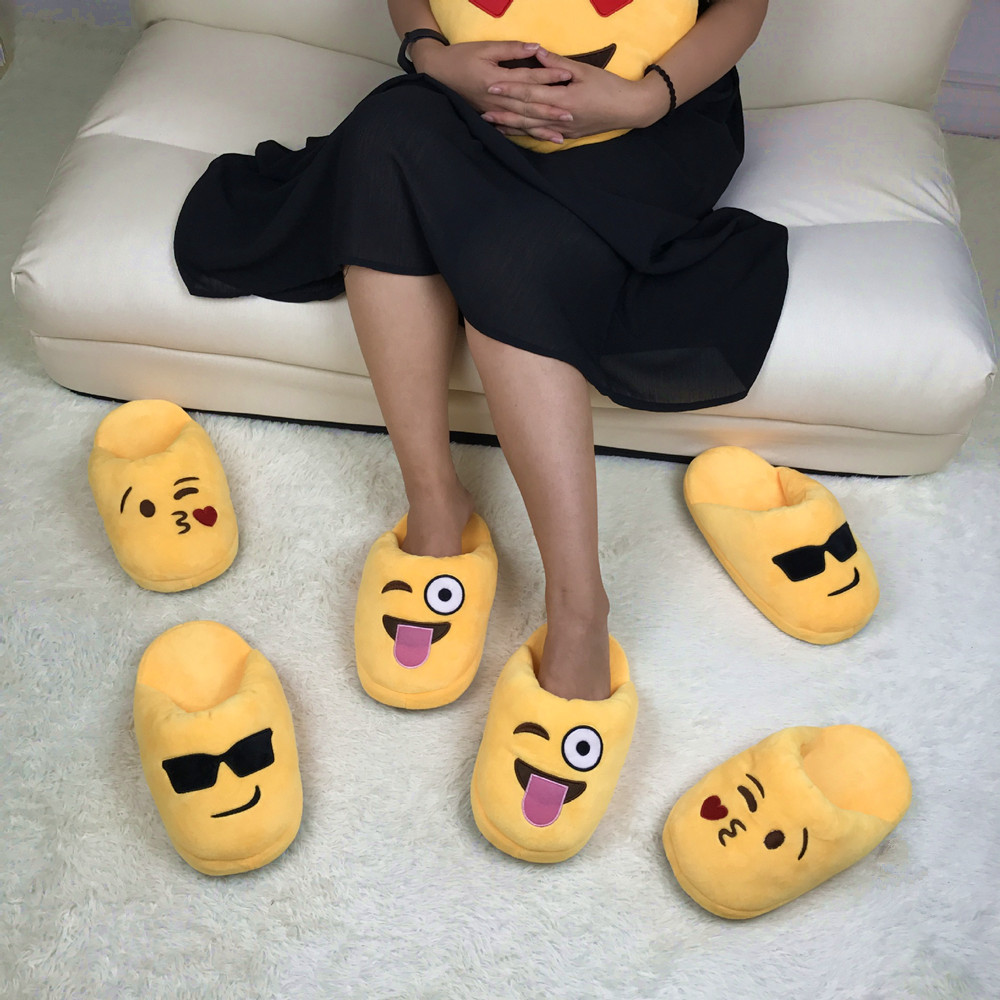 "Buy 50 pairs for 20 free - 11"" Emoji fluffy <strong>slipper</strong>"