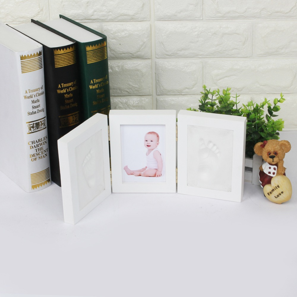 Babyprints Newborn Baby Handprint and Footprint Photo Frame Kit wood for baby gift