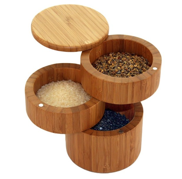 Kitchen Wood Bamboo Spice Box With Magnetic Swivel Lids