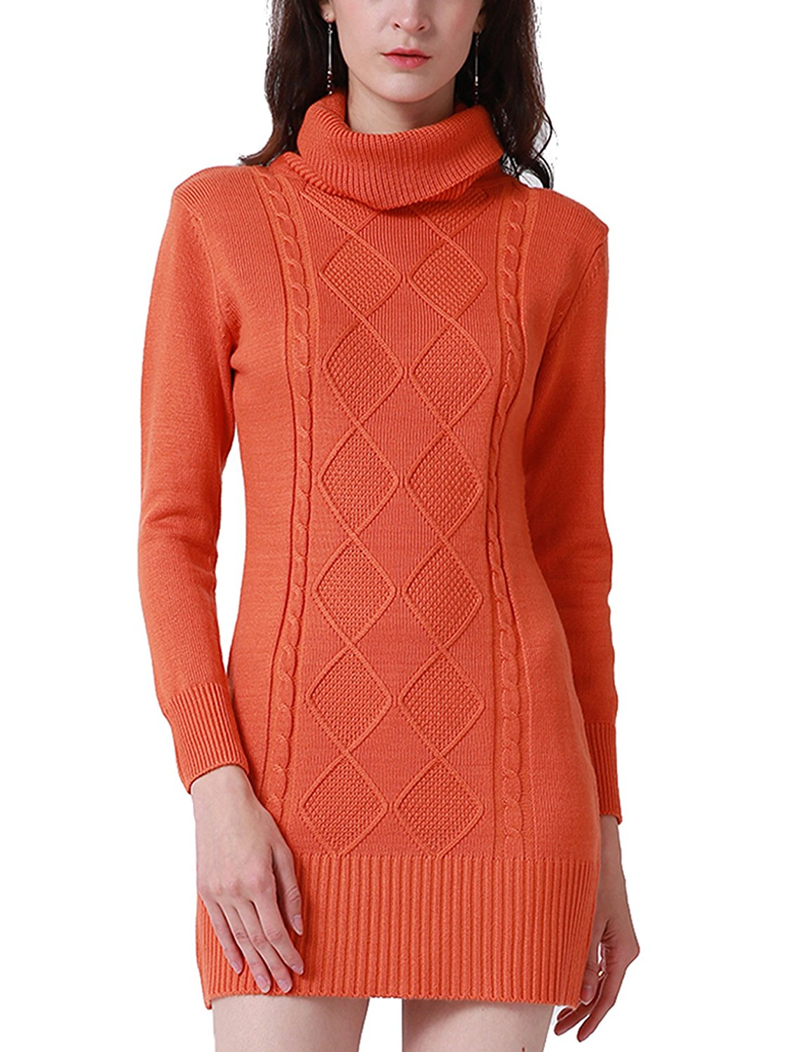 93384750ef8 Get Quotations · MiYang Turtleneck Cable Knit Sweater Tunic Dress For Women  Bodycon Pullovers