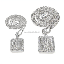 hip hop Silver plated chains for men women long big Crude chunky Rhinestone square Pendant Necklace