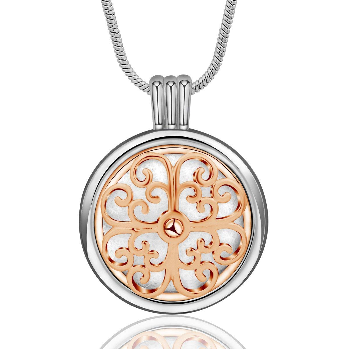 INFUSEU Cross Flower Essential Oil Diffuser Necklace Aromatherapy Locket Pendant + 12PCS Refill Replacement Pads for Fleur De Lis Women Scent Jewelry Set (Rose Gold)