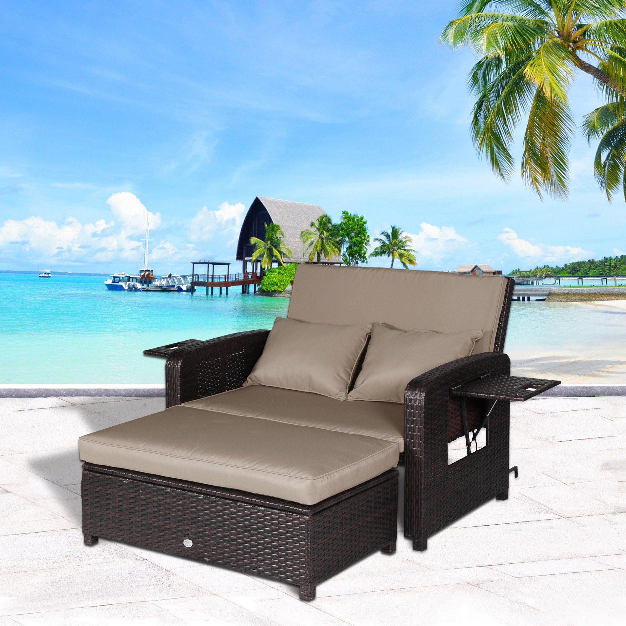 Cloud Mountain 2 PC Rattan Wicker Love Seat Sofa Daybed Set Outdoor Patio Love Seat with Ottoman Furniture Set Lounge Chair, Mix Brown Rattan with Khaki Cushions