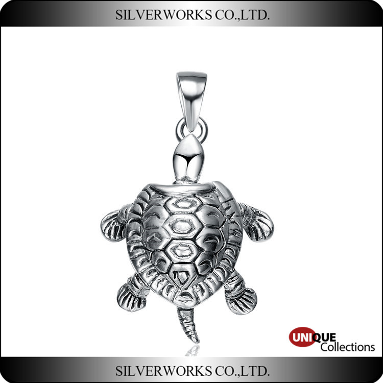 925 sterling silver Sea Tortoise necklace pendant or turtle charms for gift