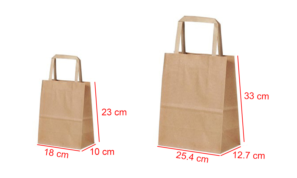 Color kraft shopping bag with flat paper handle