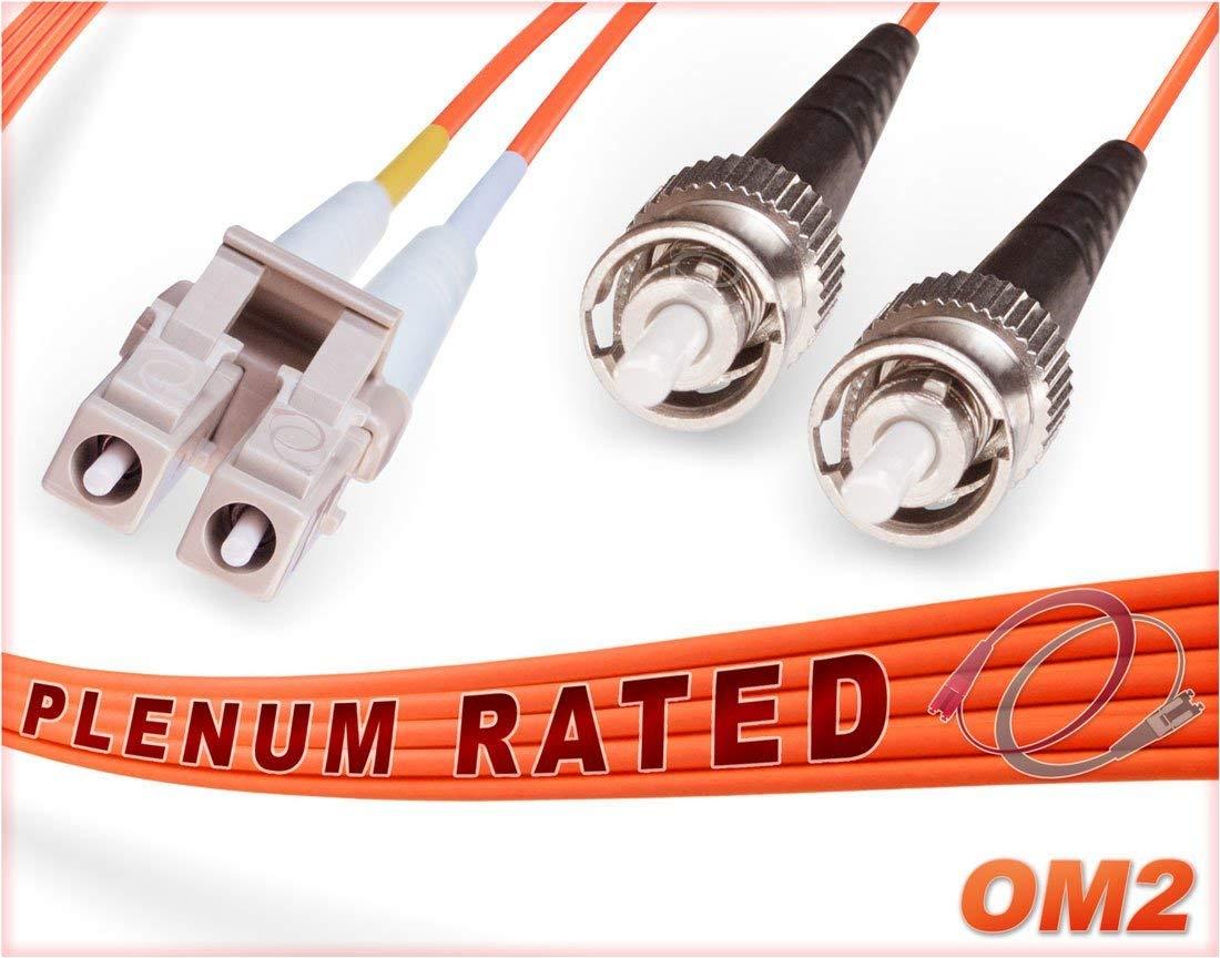 OM2 LC ST Plenum Duplex Fiber Patch Cable 50/125 Multimode - 50 Meter