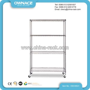 Chrome 4 Layers Easy Assemble Wire Shelf Rack With Wheels