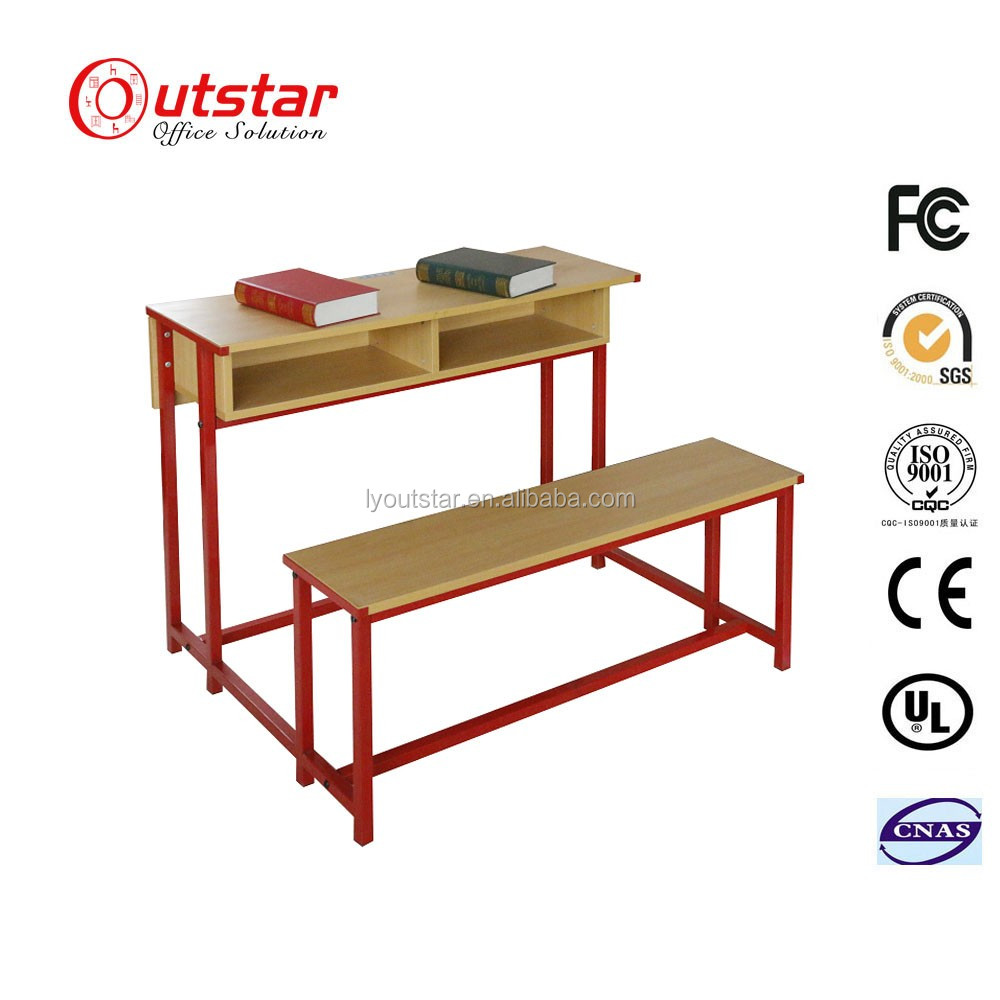 Hot Sale Double Wood Connective School Desk Benches and chairs