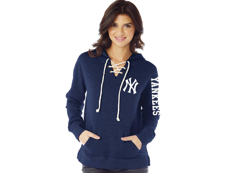 MLB New York Yankees Women's Slub Fleece Lace Hoodie, Small, Navy