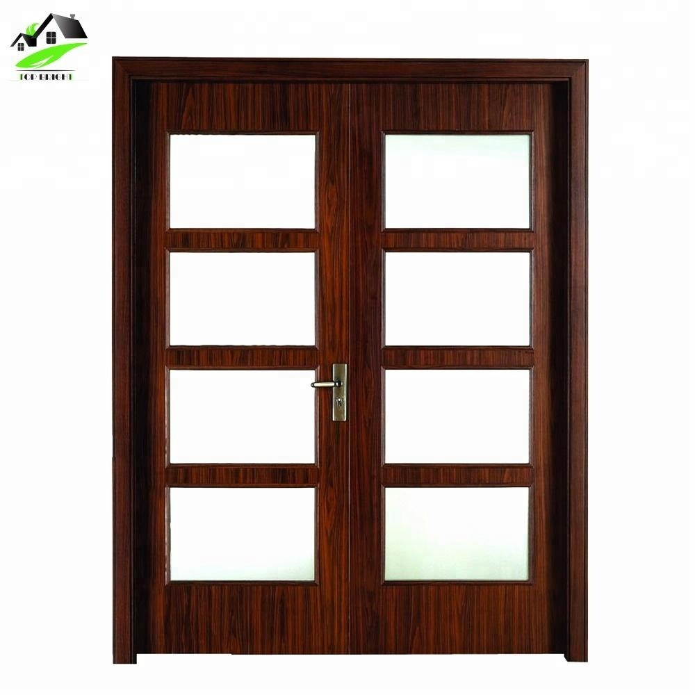 Front teak wood double door design solid wood door