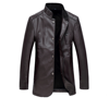 wholesale Men's Cool Middle-long Leather Jacket Handsome Western-style Genuine Leather coat for men