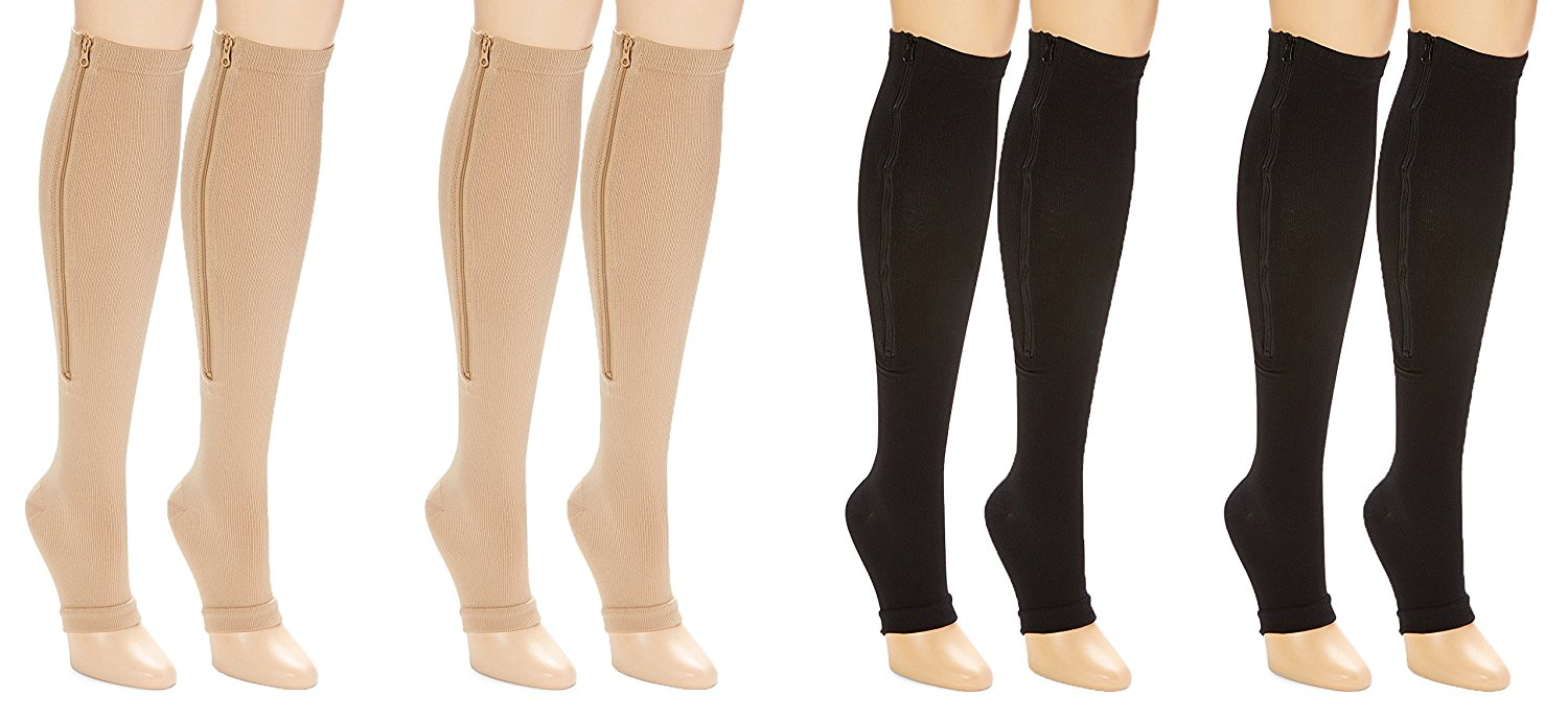 203686b1c24 Get Quotations · Unisex Moderate Compression Knee High 4-Pack Open Toe  Zipper Stockings (S M