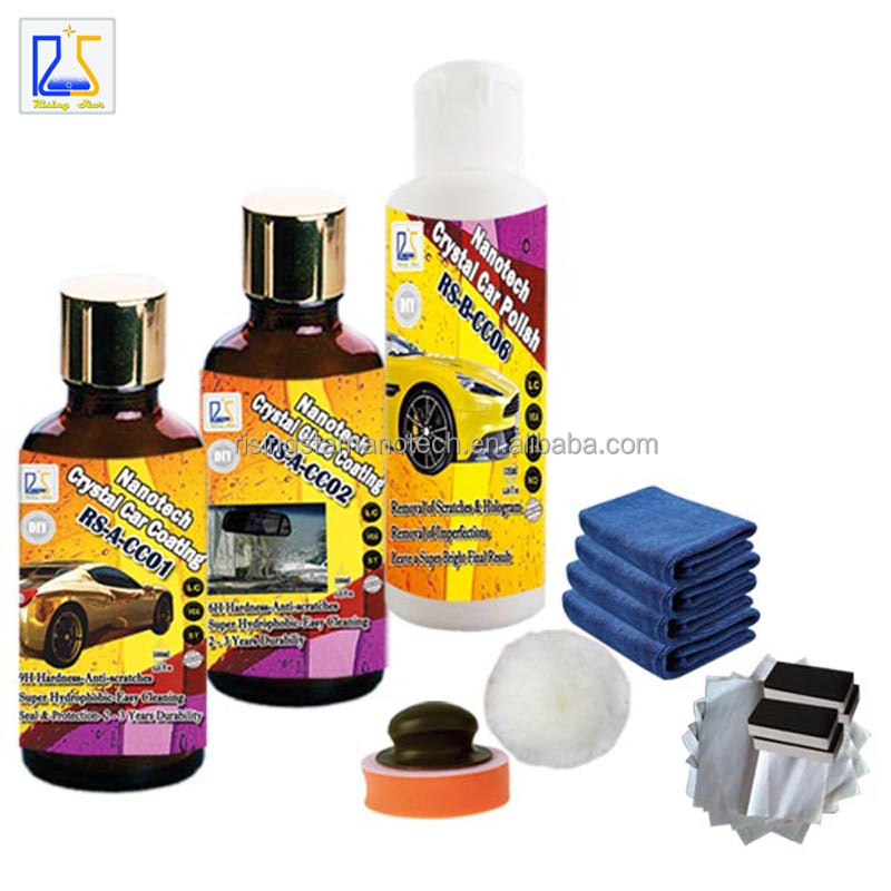 car paint care polishing wax plus liquid car wax nano crystal car coating 9H hardness protection and hydropobic glass coating