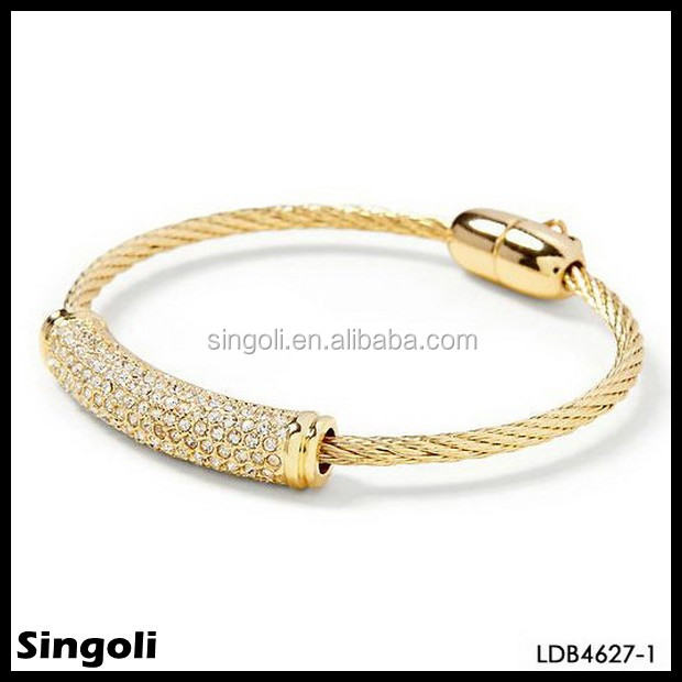 Gold plated stainless steel pave bar bracelet gold plated stainless steel jewelry