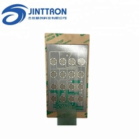 Custom subtransparent circuit switch with silver trace, four- leg dome, LED