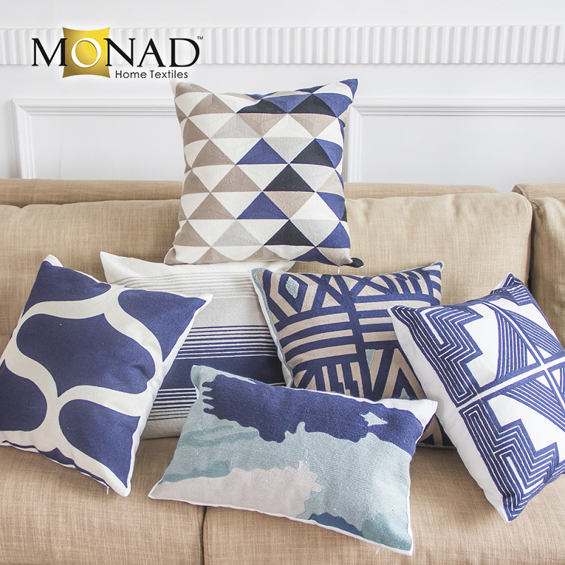 Monad cotton cushion hand embroidered pillows covers 22x22