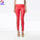 Hot selling women red leather high-waisted legging pants