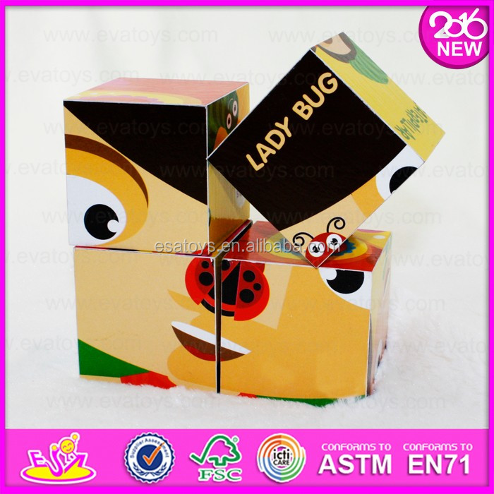 logo printed wooden jigsaw puzzle/IQ training 3d puzzle game for kids W14F051