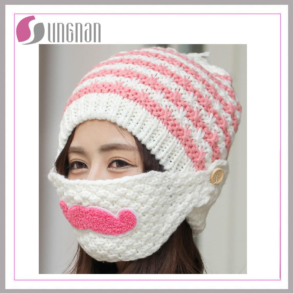 Invierno Rayas Knit Esquí Máscara Beanie Para Niños Crochet Barba ...