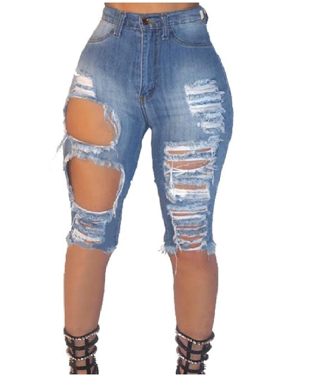 Abetteric Women's Cowboy Stretchy Sexy Ripped Distressed 1/2 Length Jeans Short