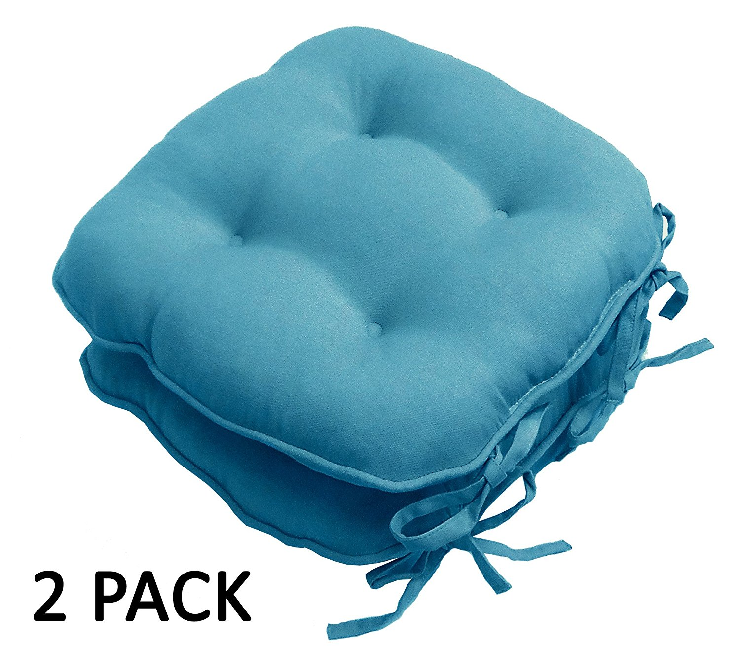 Cotton Craft - 2 Pack Dining Chair Pad with ties - Teal - Overstuffed Dining Chair Cushion - Pure 100% Cotton duck fabric - Convenient ties to anchor pad to chair - Comfy 100% Poly fill