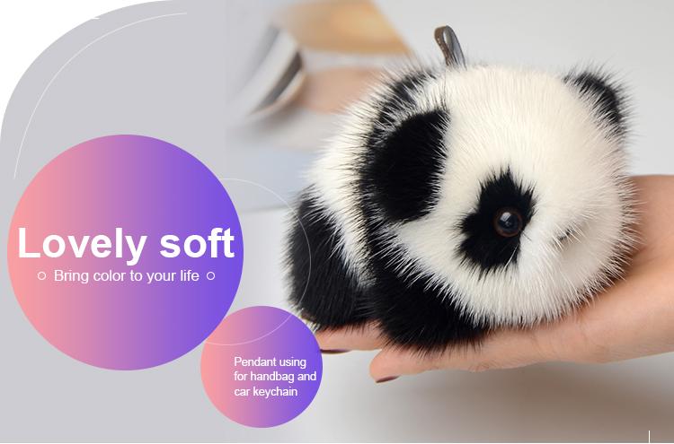 2018 new fashion plush animal mink fur panda keychain for women handbag 7249b44b6f