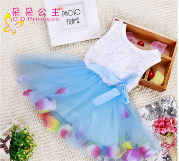 New Rose Petal Girl Sundress Wholesale Price Colorful Dresses Kids Dress Decoration Flowers Kids Baby Girl