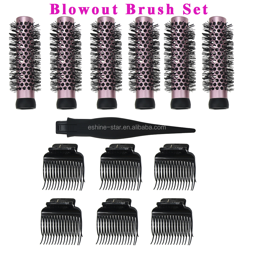 Professional blowout brush set with detachable barrels roller hair brush