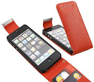 iTALKonline Apple iPhone 5 (2012) iPhone 5S (2013) iPhone SE (2016) Red PU Leather Executive Multi-Function Vertical Flip Wallet Case Cover Organiser with Credit / Business Card Holder