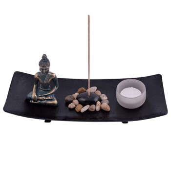 white buddha mini zen garden asian japanese fengshui zen. Black Bedroom Furniture Sets. Home Design Ideas